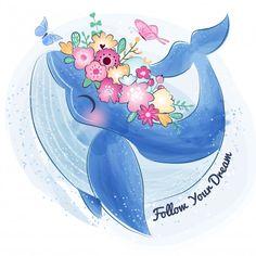 Cute whale with flower Premium Vector Cute Animal Drawings, Cute Drawings, Cute Whales, Cute Elephant, Cute Illustration, Cute Cartoon, Cute Art, Watercolor Art, Animal Illustrations