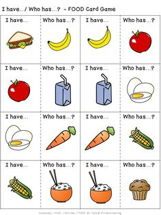 This  #food #vocabulary #game provides opportunities for #prek  (#preschool), #kindergarten, and #gradeone children to practice identifying and naming food items.   Practice #sorting the cards.  What was your sorting rule? (Available in Print Letters or Sassoon Font.)