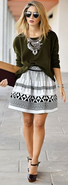 Ma Petite By Ana Black Ankle Strap Pumps B W Printed A-skirt Army Green Sweater Fal Inspo