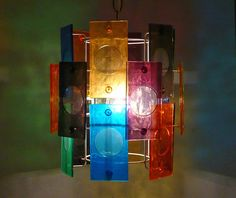 SOLD | Colorful & fun! Now lives in CA.  1960s-70s Acrylic Swag Pendant Lamp by LiseVintageLighting