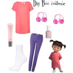 Diy boo from monsters inc costume by its-zoe-vi on Polyvore featuring Accessorize, Topshop, Oui, MAKE UP STORE, Essie and Disney
