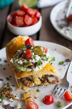 Breakfast Chimichangas with Avocado + Cajita Cheese.
