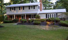 black roof cream siding red brick - Google Search                                                                                                                                                                                 More
