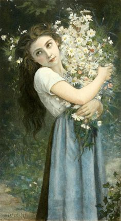 The Flower Girl-Jules-Cyrille Cavé (1859 – 1940, French)