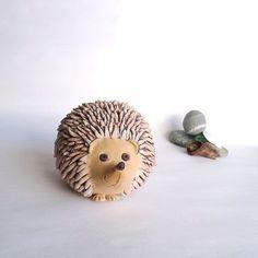 Handmade African Pygmy Hedgehog Pottery Sculpture Life Size