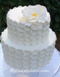 """Website: My Cake School gives a great tutorial on this """"petal"""" layered frosting technique."""