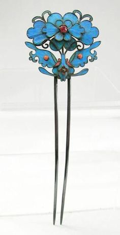 antique Chinese jeweled Kingfisher Feather and Silver-Gilt hairpin