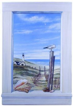 Stupell Home Decorative Faux Window Scene, Ocean with Seagulls, 22 by 33-Inch