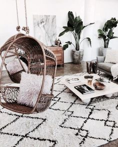 Living room decor. Boho. Suspended chair