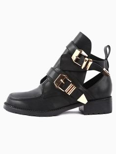 Choies Metal Buckle Cut Out Boots on shopstyle.com