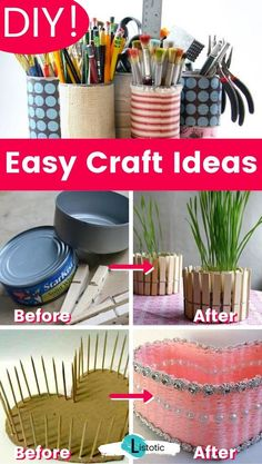 Easy DIY craft ideas. Great for repurposing old things into something new and unique! The perfect crafts for redecorating the home on a budget. Turn old household items into something completely new, all while saving money! Click on the pin to discover the full list of creative craft ideas and more idea lists over on Listotic! #crafty #fun #ideas #diy Diy Projects For Adults, Diy Craft Projects, Craft Tutorials, Decor Crafts, Diy For Kids, Home Crafts, Craft Ideas, Easy Diy Crafts, Crafts To Make