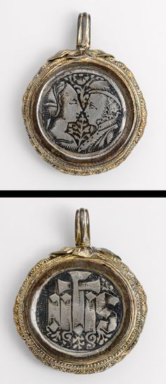 Pendant with facing couple (obverse) and sacred monogram (reverse): ihs, the first three letters of the Greek name of Jesus Christ, 15th century Europe. Appears to be a love token.