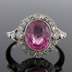 PINK SAPPHIRE AND DIAMOND ANTIQUE-STYLE HAND MADE RING From Platinum Plus Designs