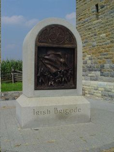 Irish Brigade Monument - In four years of fighting in the American Civil War, the Irish Brigade lost over 4,000 men killed, wounded and missing. At the Battle of Antietam, the four regiments then comprising the brigade lost a total of 422 wounded and 113 killed. This monument was dedicated at the south end of Bloody Lane, Antietam Battlefield, in October of 1997. It commemorates the dead and wounded of that battle who fell scant yards away, September 17, 1862.