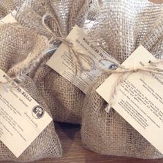 I hand make the packaging for my wool dryer balls from natural biodegradeable hessian, tie them with a natural jute twine and design and print the labels at home using Kraft card.