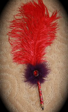 Red Hat Society Feather Pen by funinfunction on Etsy, $14.00