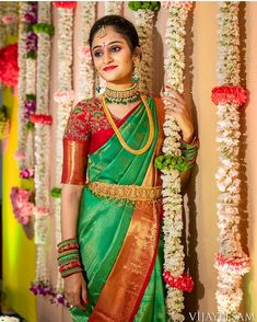 Bride 😍 Photo by Wedding Saree Blouse Designs, Pattu Saree Blouse Designs, Silk Saree Blouse Designs, Blouse Neck Designs, Blouse Patterns, Silk Sarees, Indian Bridal Sarees, Indian Bridal Fashion, Indian Gowns