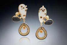 Sally Craig SEC Designs Wire Jewelry, Jewelry Art, Antique Jewelry, Jewelery, Jewelry Design, Unique Earrings, Gold Earrings, Drop Earrings, Textiles Techniques