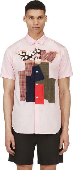 Comme Des Garçons Shirts: Pink Patchworked Eyes Shirt