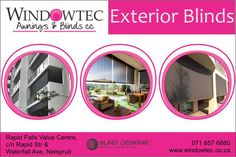 Windowtec sells interior blinds, exterior blinds, fabric awnings & shutters in Nelspruit, Mpumalanga. We are a Luxaflex® Gallery Store located at Riverside Industrial Park, Nelspruit. Exterior Blinds, Fabric Awning, Outdoor Blinds, Industrial Park, Roman Blinds, Roller Blinds, Shutters, Window Treatments, Entertainment