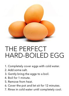 "Make the perfect hard-boiled egg every time. Pinner Terri Brodfuehrer- ""Another trick we did in the restaurants was after draining the hot water out, bounce them til they crack, then fill with cool/cold water.. the egg will contract making it easy to peel."""