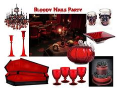 Bloody Nails Party - Halloween Decor by b-whalley on Polyvore featuring interior, interiors, interior design, home, home decor, interior decorating, Villeroy & Boch, Casarialto and Glitzhome