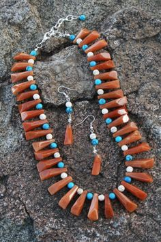 And to show the variety we have, this is just a very unique piece! Turquoise Necklace, Beaded Necklace, Ruby Rose, Jewelry Making, Unique, Handmade, Fashion, Moda, Pearl Necklace