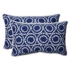 Pillow Perfect™ Ring a Bell Outdoor 2-Piece Lumbar Throw Pillow Set - Blue/Off White
