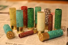 Decorated shotgun shells as ornaments.