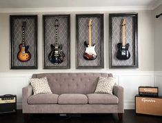 27 Trendy home studio music room offices Home Music Rooms, Music Studio Room, Music Room Art, Guitar Room, Guitar Wall, Music Room Organization, Trendy Home, Room Decor, Decoration