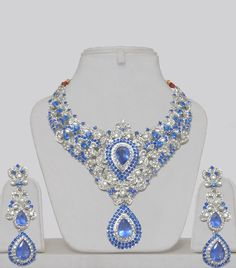 Blue and white stones jewelry set