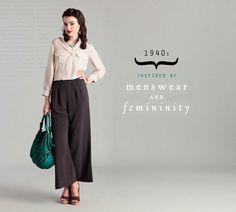 Rouche 1940's menswear and femininity