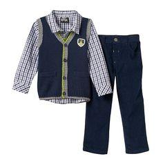 Baby Boy Boys Rock Knit Vest, Plaid Shirt & Corduroy Pants Set