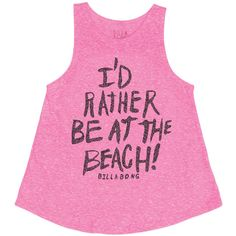 Billabong Unisex I Be At The Beach Tank ($8.98) ❤ liked on Polyvore featuring tops, passion pop, t-shirt/prints, print tank, pink top, billabong, pattern tank top and unisex tank