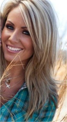 cool blonde highlights and long layered cut