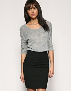 Slouchy sweater and pencil skirt