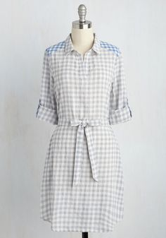 Home Shopping Haute Dress - Multi, Grey, Checkered / Gingham, Print, Casual, A-line, Shirt Dress, 3/4 Sleeve, Fall, Woven, Good, Grey, Mid-length, Americana
