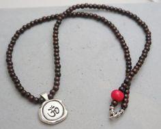 Whitney Howard Rosewood Mala Necklace with Om Charm