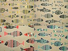 Scandinavian-Fish-Natural-Linen-Look-Curtain-Upholstery-Quilting-Designer-Fabric