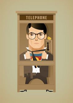 Clark Kent in a Telephone Booth - by Stan Chow