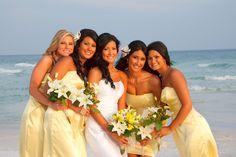 Beach Wedding Ideas - yellow for the bridesmaids!