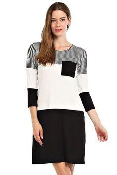 STRIPE PRINT CONTRAST COLORBLOCK SHIFT DRESS-(FREE SHIPPING on NEW items Fri/Sat!!) black95% RAYON 5% SPANDEX.MADE IN U.S.A.