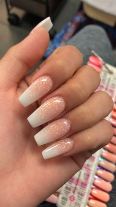 Rose gold ombré. Acrylic Nails Coffin Ombre, Acrylic Nails Glitter Ombre, Baby Pink Nails Acrylic, Pink Ombre Nails, Glitter Acrylics, Baby Pink Nails With Glitter, White Coffin Nails, Ombre Nail Art, White Acrylic Nails With Glitter