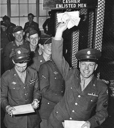 Upon the end of World War II, Army soldiers are discharged from service (1945)