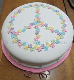 Resultado de imagen para simbolo de la paz Big Cakes, Just Cakes, Sweet Cakes, Cakes And More, Cake Decorating Tutorials, Cookie Decorating, Peace Sign Cakes, Cake Cookies, Cupcake Cakes