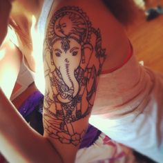 "nice Body - Tattoo's - Ganesh tattoo - the Hindu ""remover of obstacles"" Yoga Tattoos, Time Tattoos, New Tattoos, Fashion Tattoos, Tatoos, Piercing Tattoo, Piercings, Ganesh Tattoo, Hindu Tattoos"