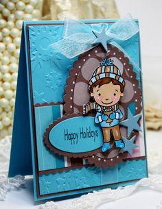Handmade Christmas Card Happy Holidays Boy Pink by CardInspired