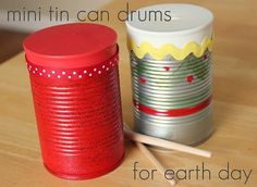 Balloon Drums: Cut the stem off the balloon, and pull the top part of the balloon over tin cans. Source: Make and Takes