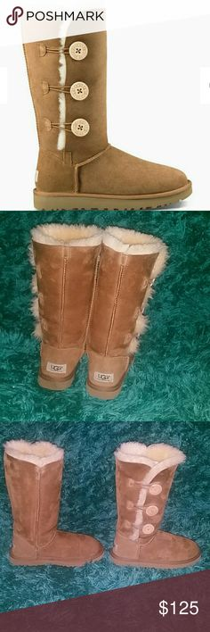 NWOT UGG Bailey Button Triplet Boots Tall chestnut UGGS...My daughter wore them once, unfortunately they were too small. They are in perfect condition!!! UGG Shoes Winter & Rain Boots