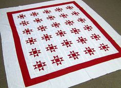 New Patchwork -  Red & White Ohio Star  -  (Quilt Top)